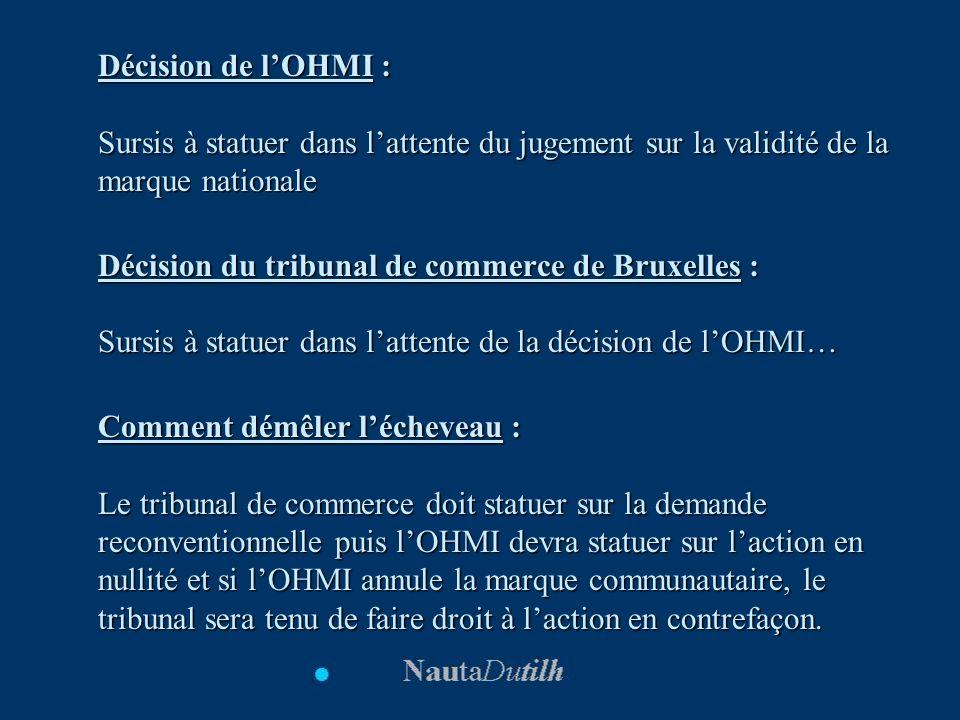 Décision de lOHMI : Sursis à statuer dans lattente du jugement sur la validité de la marque nationale Décision du tribunal de commerce de Bruxelles :
