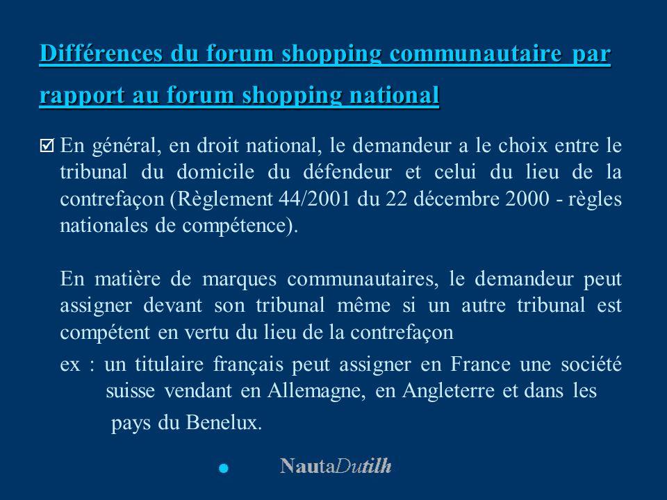 Différences du forum shopping communautaire par rapport au forum shopping national En général, en droit national, le demandeur a le choix entre le tri