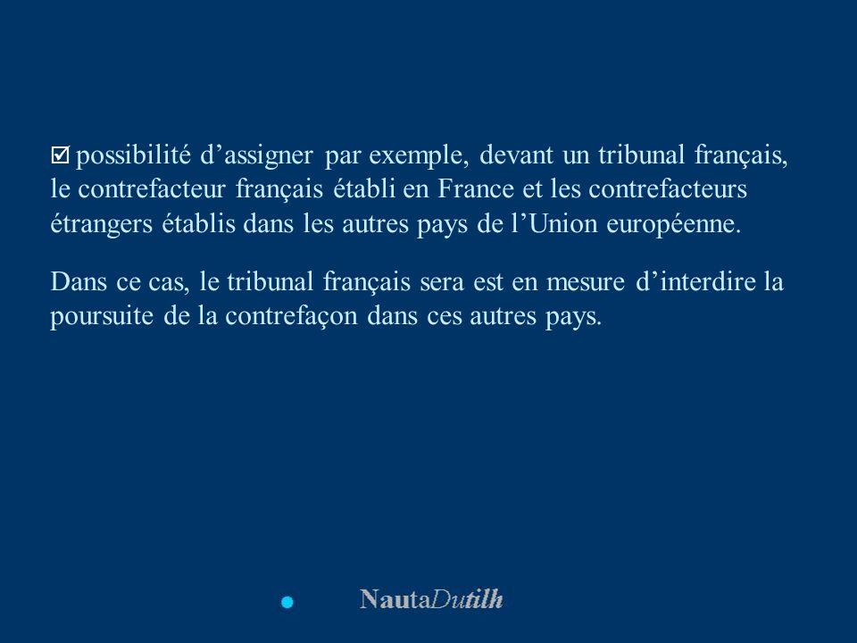 possibilité dassigner par exemple, devant un tribunal français, le contrefacteur français établi en France et les contrefacteurs étrangers établis dan