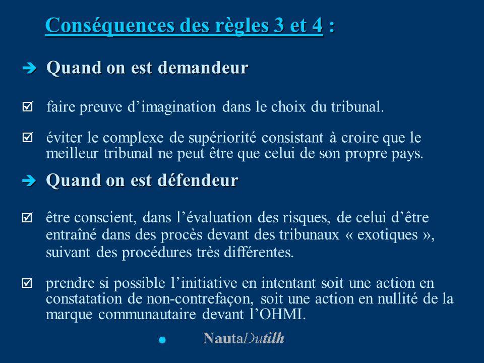 Conséquences des règles 3 et 4 : Quand on est demandeur Quand on est demandeur faire preuve dimagination dans le choix du tribunal. éviter le complexe