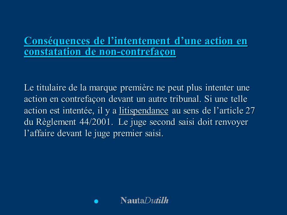 Conséquences de lintentement dune action en constatation de non-contrefaçon Le titulaire de la marque première ne peut plus intenter une action en con