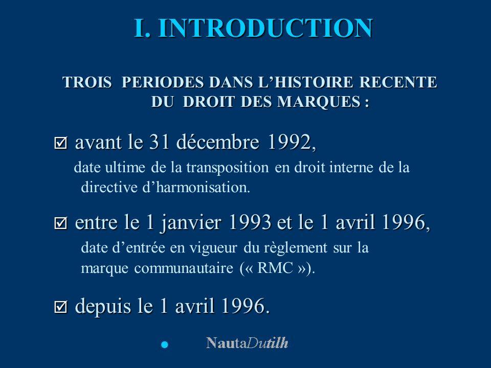 I. INTRODUCTION TROIS PERIODES DANS LHISTOIRE RECENTE DU DROIT DES MARQUES : avant le 31 décembre 1992, avant le 31 décembre 1992, date ultime de la t