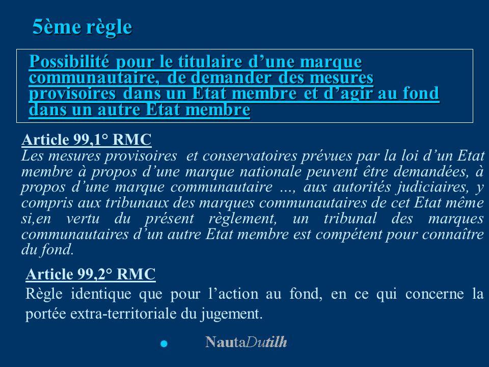 5ème règle Possibilité pour le titulaire dune marque communautaire, de demander des mesures provisoires dans un Etat membre et dagir au fond dans un a