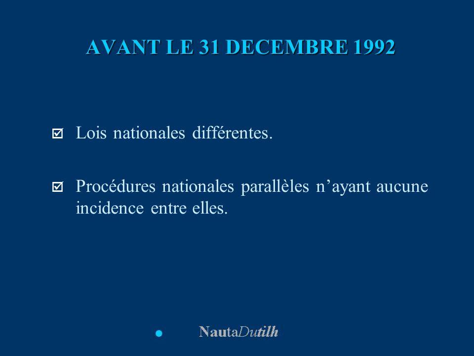 AVANT LE 31 DECEMBRE 1992 Lois nationales différentes. Procédures nationales parallèles nayant aucune incidence entre elles.