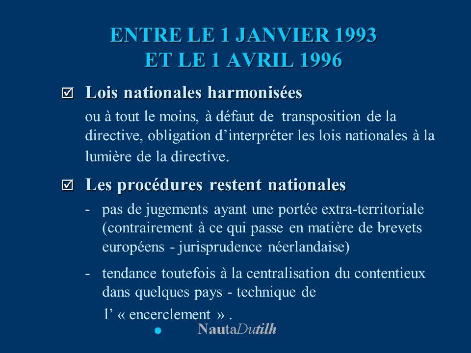 ENTRE LE 1 JANVIER 1993 ET LE 1 AVRIL 1996 Lois nationales harmonisées Lois nationales harmonisées ou à tout le moins, à défaut de transposition de la