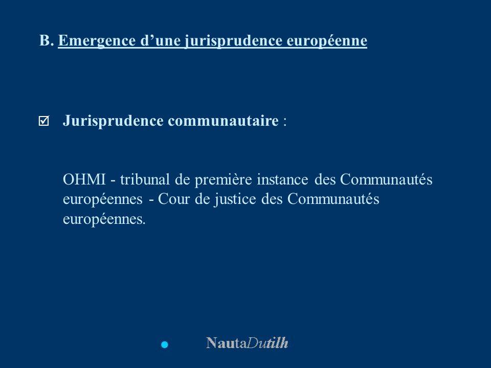 B. Emergence dune jurisprudence européenne Jurisprudence communautaire : OHMI - tribunal de première instance des Communautés européennes - Cour de ju
