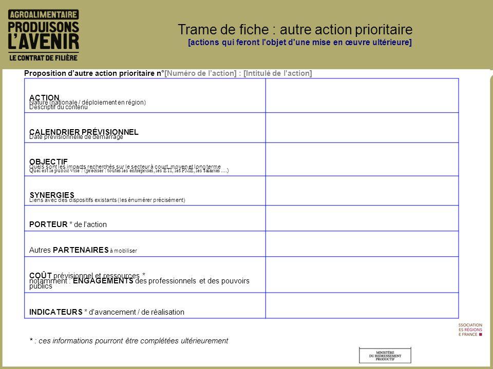 Proposition dautre action prioritaire n°[Numéro de laction] : [Intitulé de l action] ACTION Nature (nationale / déploiement en région) Descriptif du contenu CALENDRIER PRÉVISIONNEL Date prévisionnelle de démarrage OBJECTIF Quels sont les impacts recherchés sur le secteur à court, moyen et long terme Quel est le public visé .