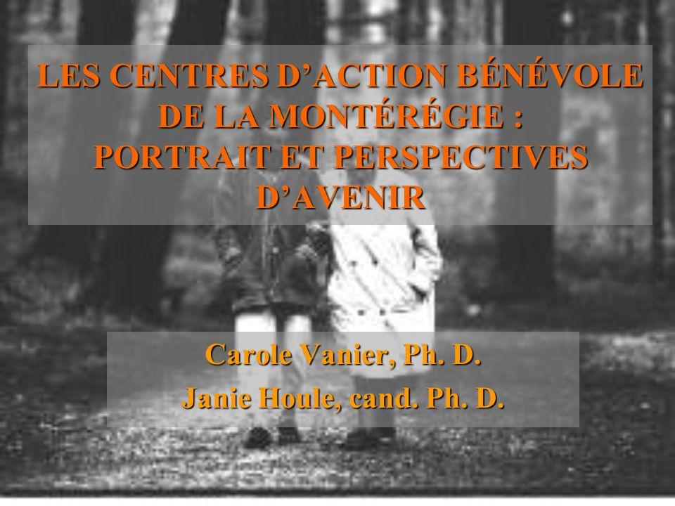LES CENTRES DACTION BÉNÉVOLE DE LA MONTÉRÉGIE : PORTRAIT ET PERSPECTIVES DAVENIR Carole Vanier, Ph. D. Janie Houle, cand. Ph. D.