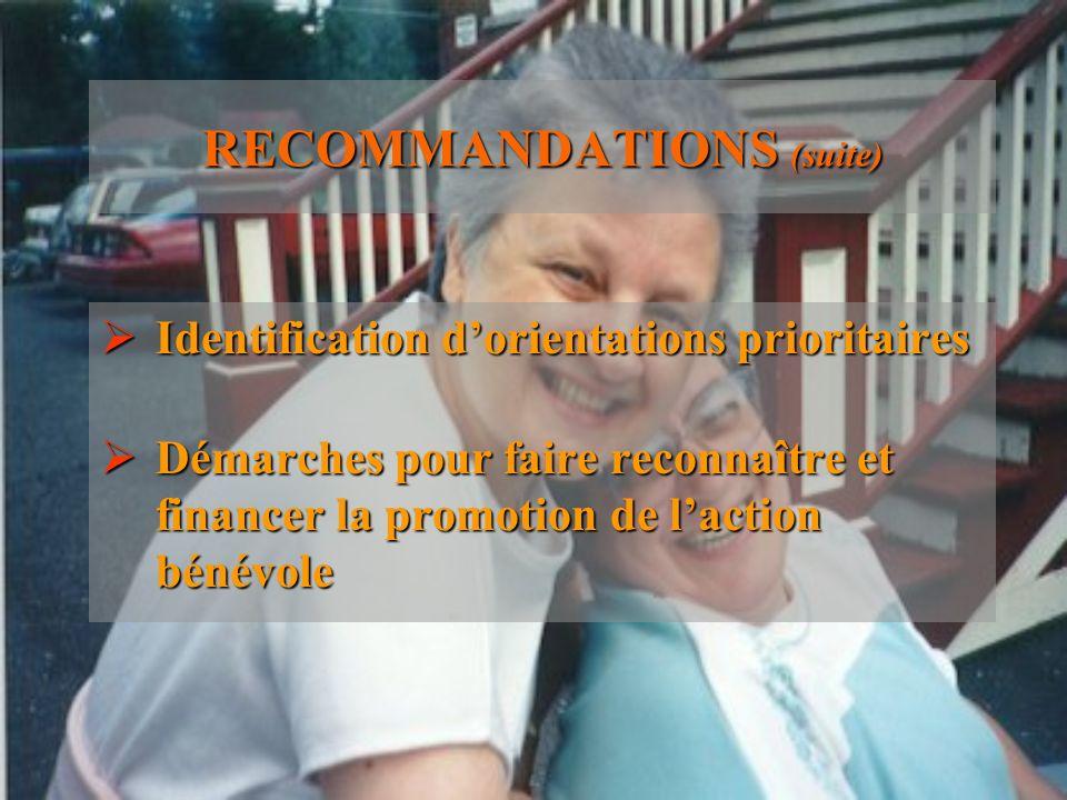 RECOMMANDATIONS (suite) Identification dorientations prioritaires Identification dorientations prioritaires Démarches pour faire reconnaître et financ