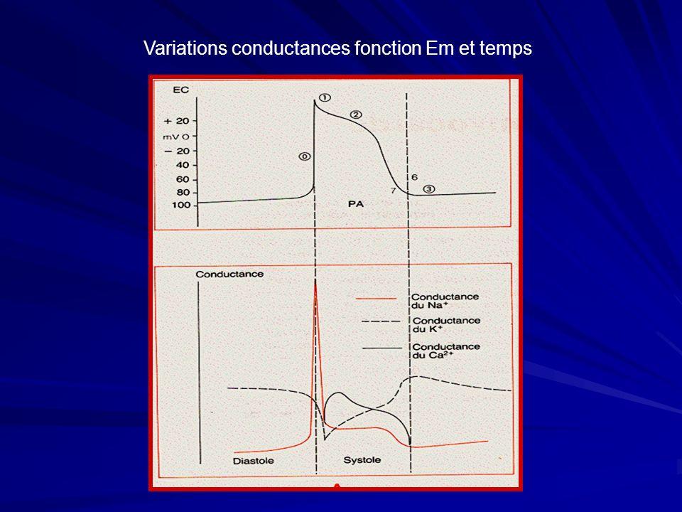 Variations conductances fonction Em et temps