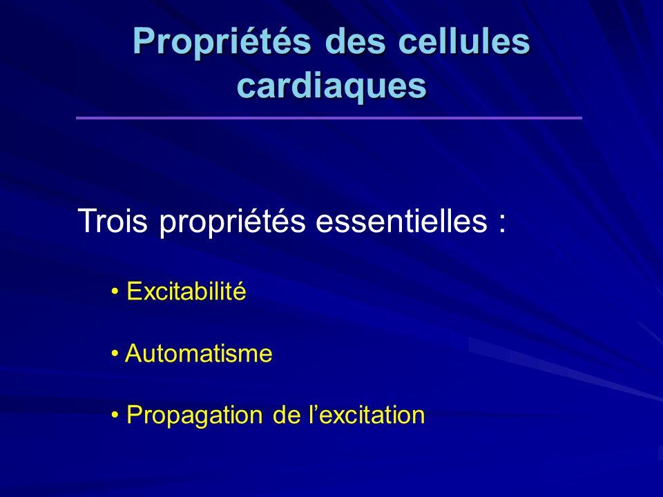 Trois propriétés essentielles : Excitabilité Automatisme Propagation de lexcitation