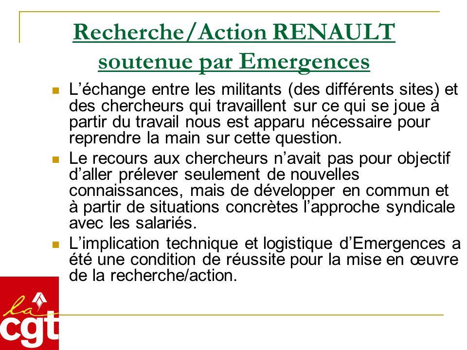 Recherche/Action RENAULT soutenue par Emergences Léchange entre les militants (des différents sites) et des chercheurs qui travaillent sur ce qui se j