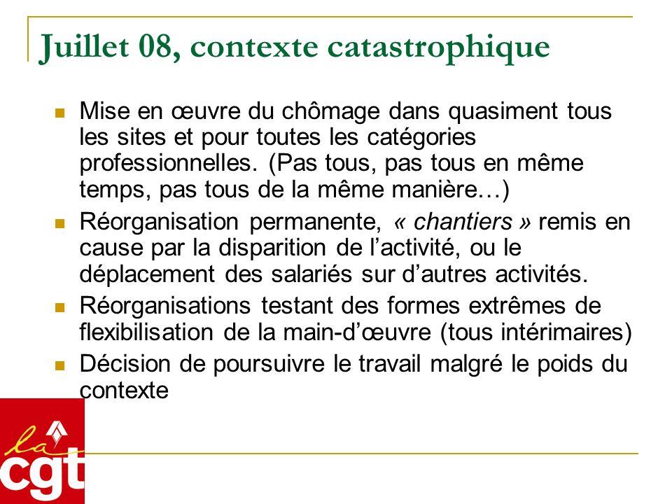 Juillet 08, contexte catastrophique Mise en œuvre du chômage dans quasiment tous les sites et pour toutes les catégories professionnelles.