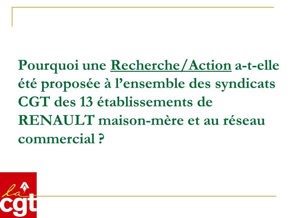 Pourquoi une Recherche/Action a-t-elle été proposée à lensemble des syndicats CGT des 13 établissements de RENAULT maison-mère et au réseau commercial