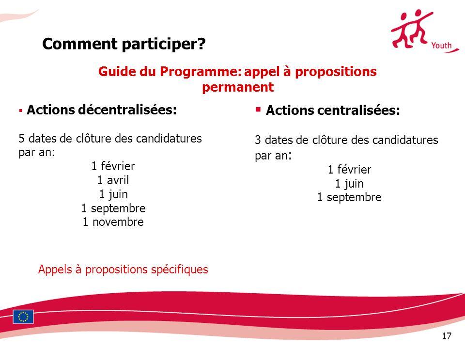 17 Actions décentralisées: 5 dates de clôture des candidatures par an: 1 février 1 avril 1 juin 1 septembre 1 novembre Comment participer? Guide du Pr