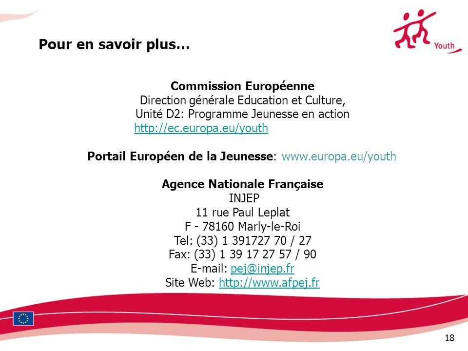 18 Pour en savoir plus… Commission Européenne Direction générale Education et Culture, Unité D2: Programme Jeunesse en action http://ec.europa.eu/yout