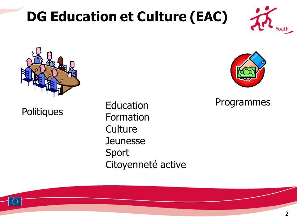 2 DG Education et Culture (EAC) Politiques Programmes Education Formation Culture Jeunesse Sport Citoyenneté active