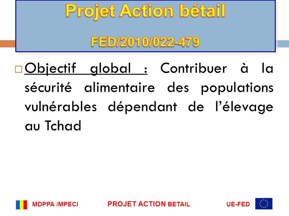 Objectif global : Contribuer à la sécurité alimentaire des populations vulnérables dépendant de lélevage au Tchad MDPPA /MPECI PROJET ACTION BETAIL UE