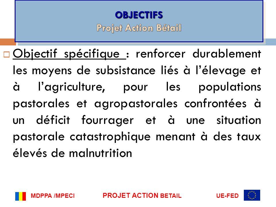 Objectif spécifique : renforcer durablement les moyens de subsistance liés à lélevage et à lagriculture, pour les populations pastorales et agropastor