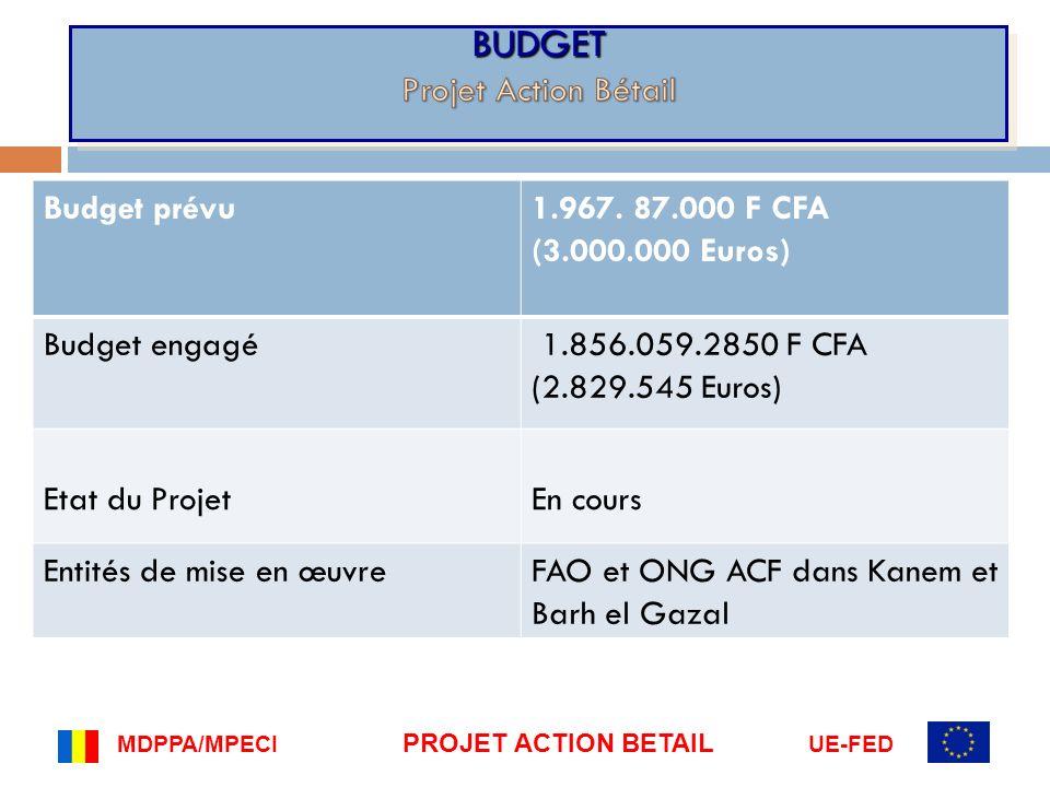 Budget prévu1.967. 87.000 F CFA (3.000.000 Euros) Budget engagé 1.856.059.2850 F CFA (2.829.545 Euros) Etat du ProjetEn cours Entités de mise en œuvre