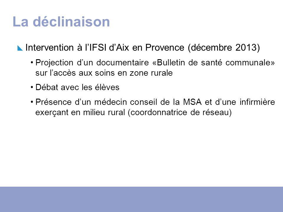 La déclinaison Intervention à lIFSI dAix en Provence (décembre 2013) Projection dun documentaire «Bulletin de santé communale» sur laccès aux soins en