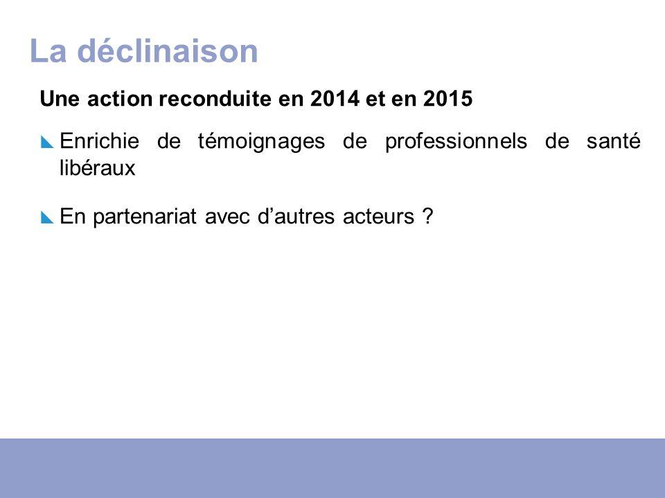 La déclinaison Une action reconduite en 2014 et en 2015 Enrichie de témoignages de professionnels de santé libéraux En partenariat avec dautres acteur