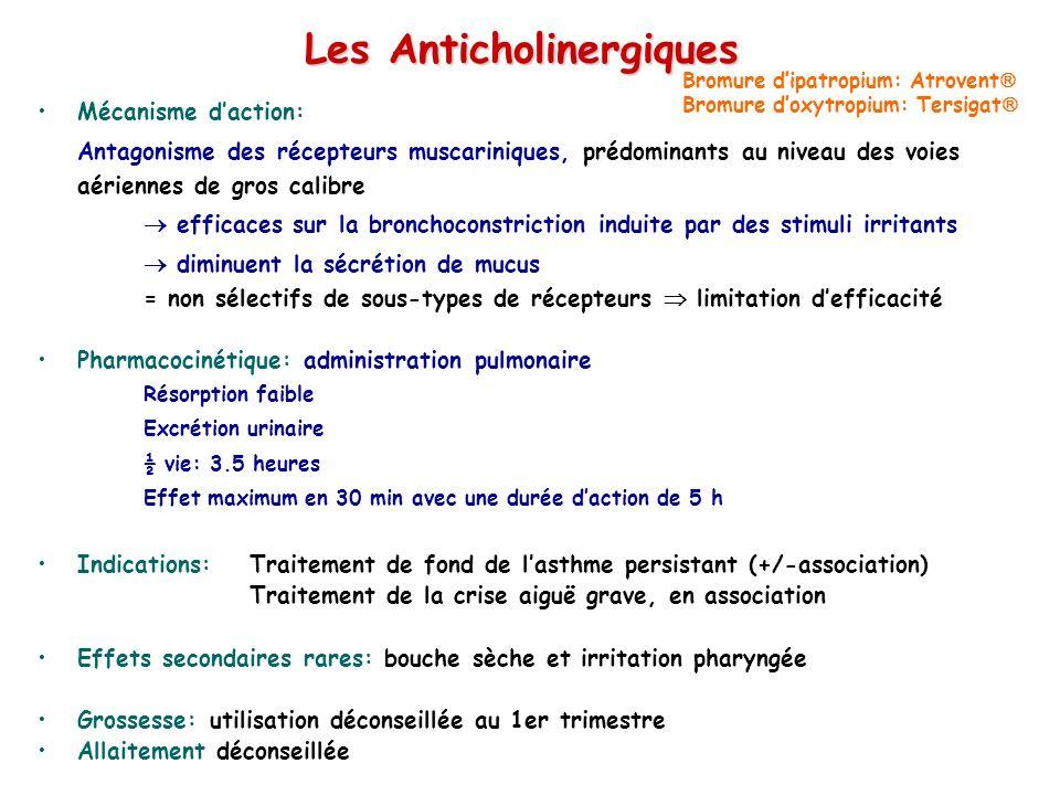 Les Anticholinergiques Mécanisme daction: Antagonisme des récepteurs muscariniques, prédominants au niveau des voies aériennes de gros calibre efficac