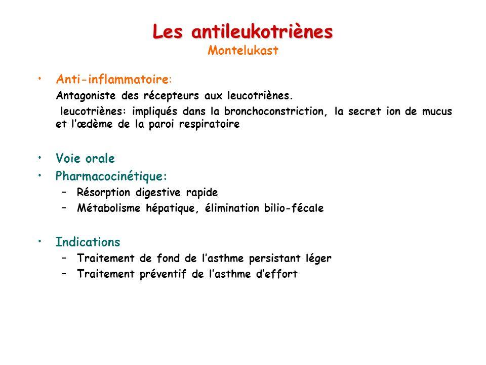 Les antileukotriènes Les antileukotriènes Montelukast Anti-inflammatoire: Antagoniste des récepteurs aux leucotriènes. leucotriènes: impliqués dans la