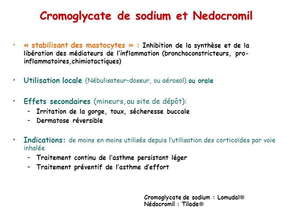 Cromoglycate de sodium et Nedocromil « stabilisant des mastocytes » : Inhibition de la synthèse et de la libération des médiateurs de linflammation (bronchoconstricteurs, pro- inflammatoires,chimiotactiques) Utilisation locale (Nébulisateur-doseur, ou aérosol) ou orale Effets secondaires (mineurs, au site de dépôt): –Irritation de la gorge, toux, sécheresse buccale –Dermatose réversible Indications: de moins en moins utilisés depuis lutilisation des corticoïdes par voie inhalée –Traitement continu de lasthme persistant léger –Traitement préventif de lasthme deffort Cromoglycate de sodium : Lomudal Nédocromil : Tilade