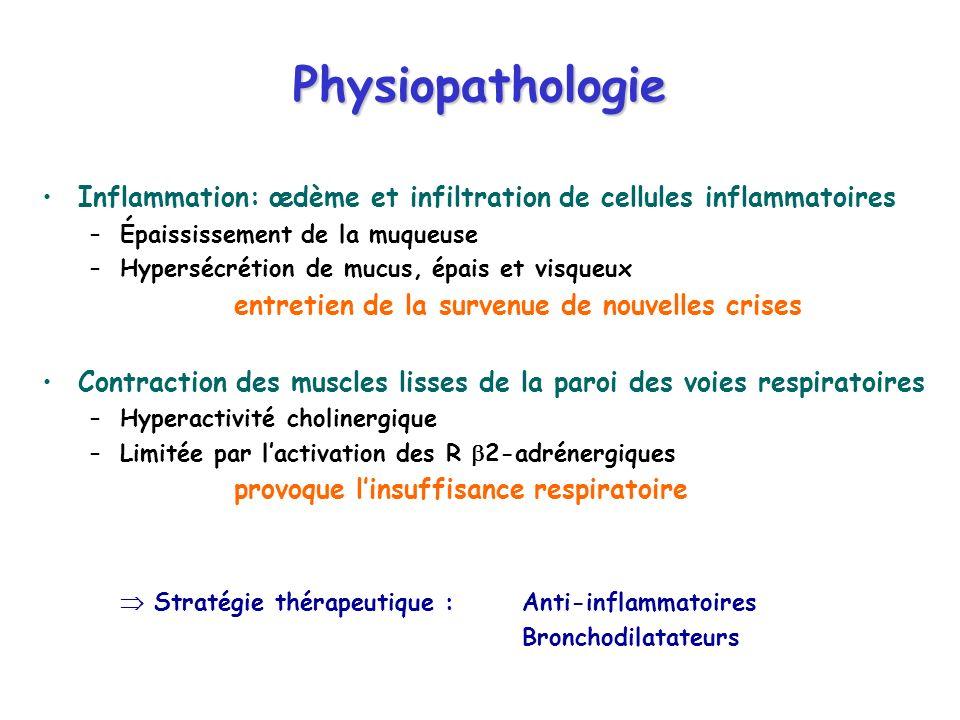 Inflammation: œdème et infiltration de cellules inflammatoires –Épaississement de la muqueuse –Hypersécrétion de mucus, épais et visqueux entretien de la survenue de nouvelles crises Contraction des muscles lisses de la paroi des voies respiratoires –Hyperactivité cholinergique –Limitée par lactivation des R 2-adrénergiques provoque linsuffisance respiratoire Stratégie thérapeutique :Anti-inflammatoires Bronchodilatateurs Physiopathologie