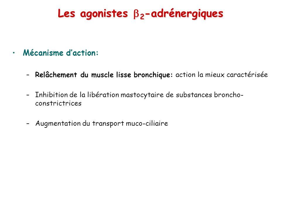 Les agonistes 2 -adrénergiques Mécanisme daction: –Relâchement du muscle lisse bronchique: action la mieux caractérisée –Inhibition de la libération mastocytaire de substances broncho- constrictrices –Augmentation du transport muco-ciliaire