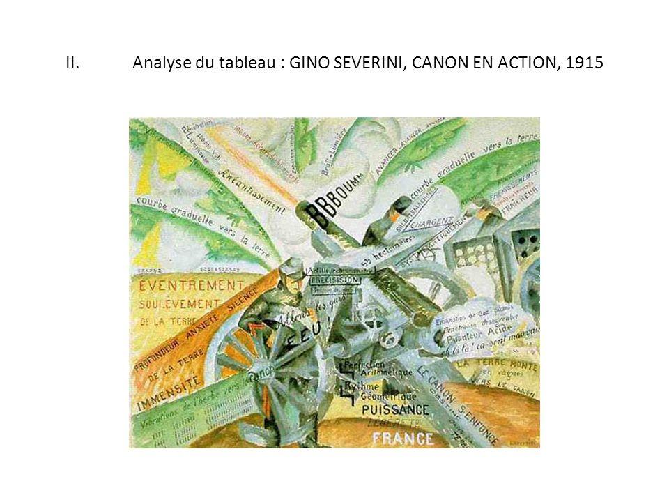 II.Analyse du tableau : GINO SEVERINI, CANON EN ACTION, 1915