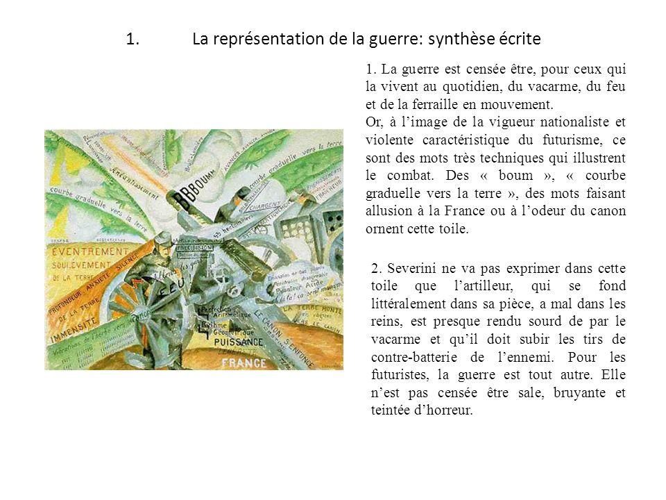 1.La représentation de la guerre: synthèse écrite 1. La guerre est censée être, pour ceux qui la vivent au quotidien, du vacarme, du feu et de la ferr