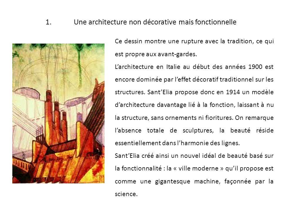 1.Une architecture non décorative mais fonctionnelle Ce dessin montre une rupture avec la tradition, ce qui est propre aux avant-gardes. Larchitecture