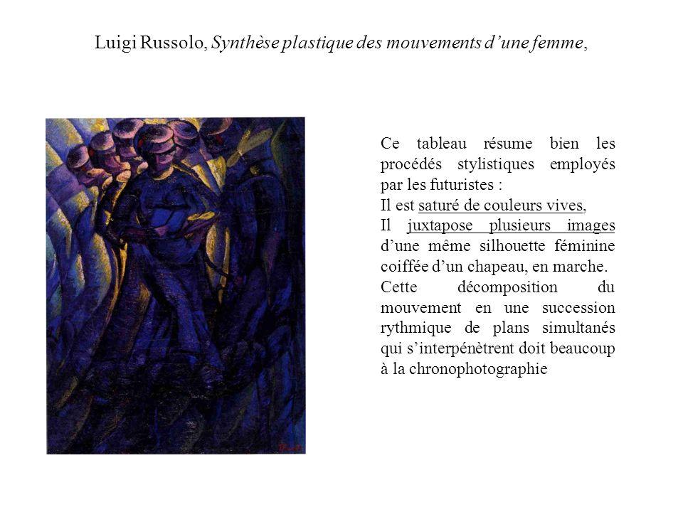 Luigi Russolo, Synthèse plastique des mouvements dune femme, Ce tableau résume bien les procédés stylistiques employés par les futuristes : Il est saturé de couleurs vives, Il juxtapose plusieurs images dune même silhouette féminine coiffée dun chapeau, en marche.
