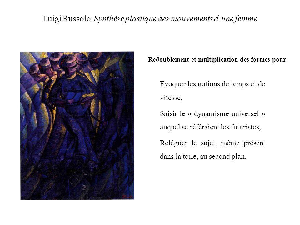 Luigi Russolo, Synthèse plastique des mouvements dune femme Redoublement et multiplication des formes pour: Evoquer les notions de temps et de vitesse, Saisir le « dynamisme universel » auquel se référaient les futuristes, Reléguer le sujet, même présent dans la toile, au second plan.