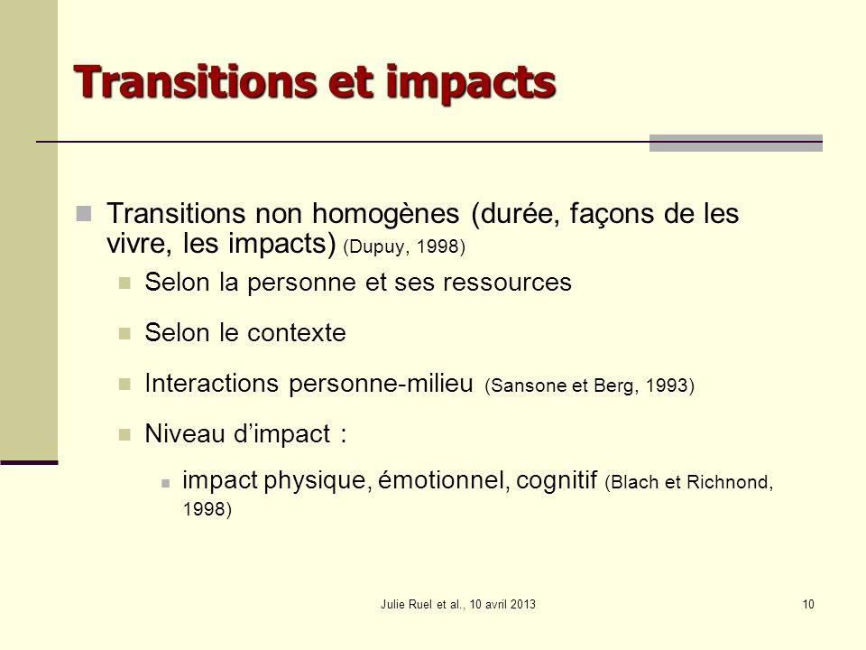 Julie Ruel et al., 10 avril 201310 Transitions et impacts Transitions non homogènes (durée, façons de les vivre, les impacts) (Dupuy, 1998) Selon la p