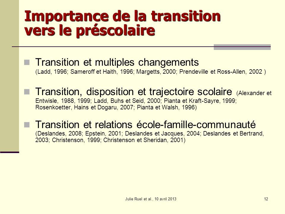 Julie Ruel et al., 10 avril 201312 Importance de la transition vers le préscolaire Transition et multiples changements (Ladd, 1996; Sameroff et Haith,