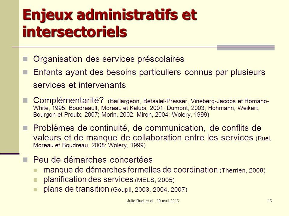 Julie Ruel et al., 10 avril 201313 Enjeux administratifs et intersectoriels Organisation des services préscolaires Enfants ayant des besoins particuli