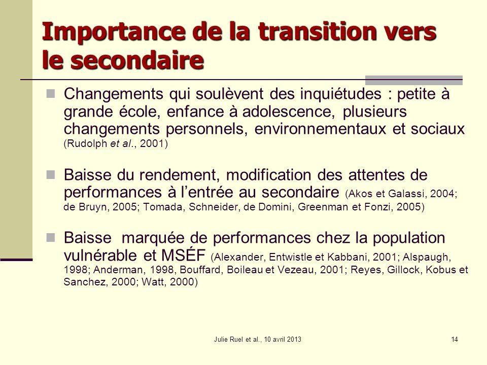 Julie Ruel et al., 10 avril 201314 Importance de la transition vers le secondaire Changements qui soulèvent des inquiétudes : petite à grande école, e