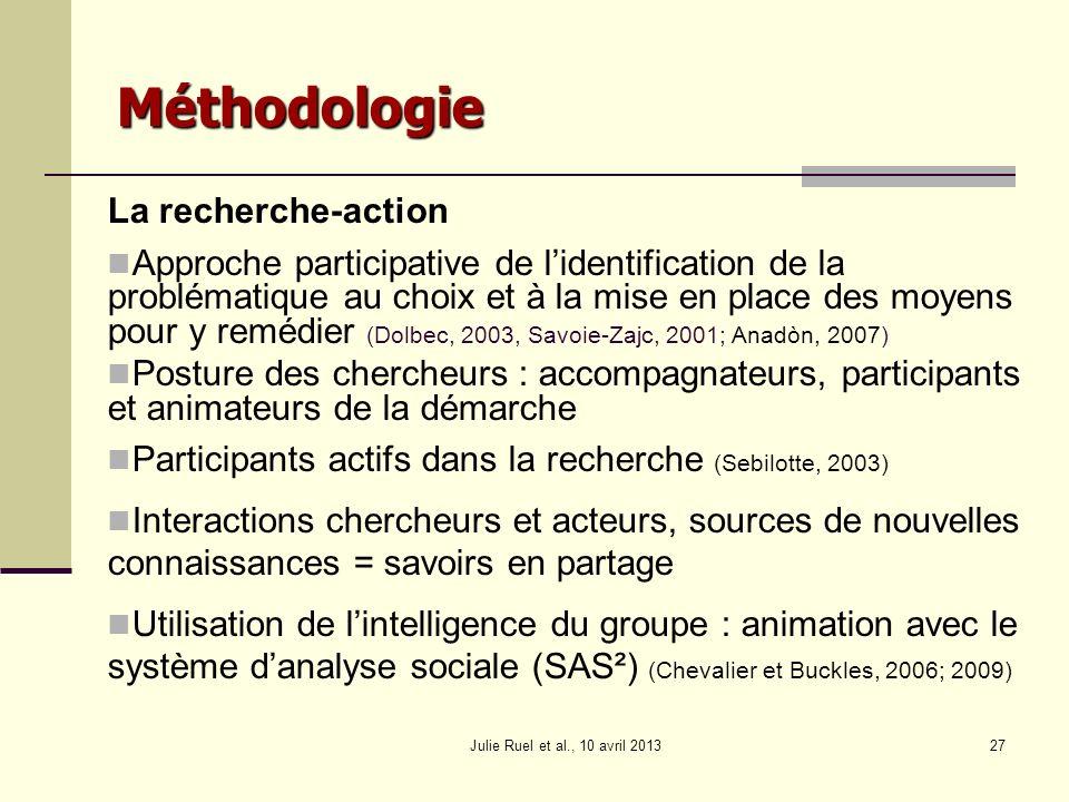 La recherche-action Approche participative de lidentification de la problématique au choix et à la mise en place des moyens pour y remédier (Dolbec, 2