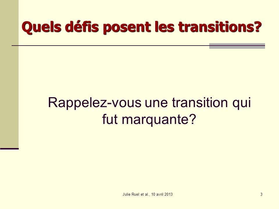 Continuité éducative Savoirs en partage Travail en réseau Transition planifiée et coordonnée Julie Ruel et al., 10 avril 201354 Pour la transition des élèves