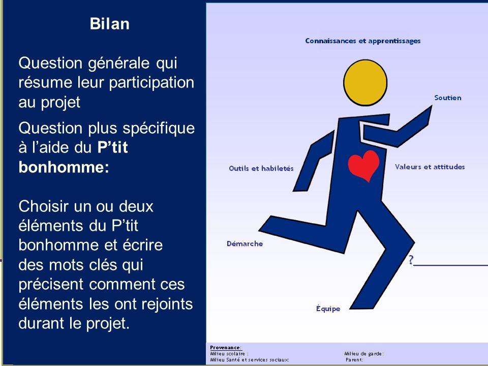 Julie Ruel et al., 10 avril 201338 Bilan Question générale qui résume leur participation au projet Question plus spécifique à laide du Ptit bonhomme: