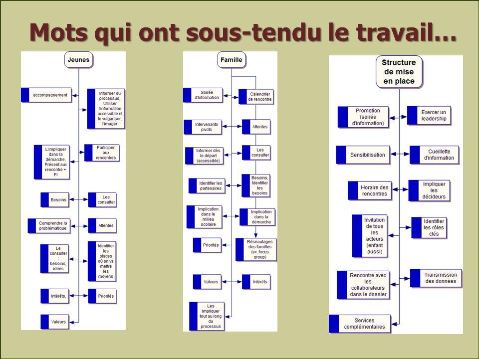 42Julie Ruel et al., 10 avril 2013 Mots qui ont sous-tendu le travail…