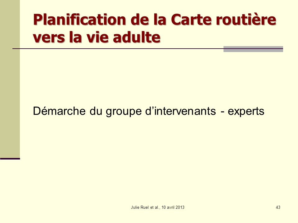 Planification de la Carte routière vers la vie adulte Démarche du groupe dintervenants - experts Julie Ruel et al., 10 avril 201343