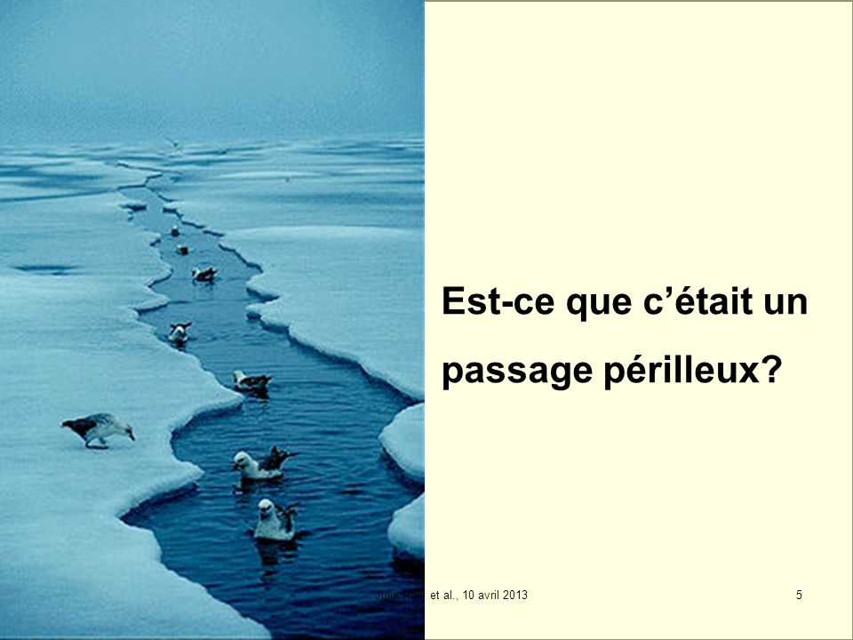 Est-ce que cétait un passage périlleux? 5Julie Ruel et al., 10 avril 2013