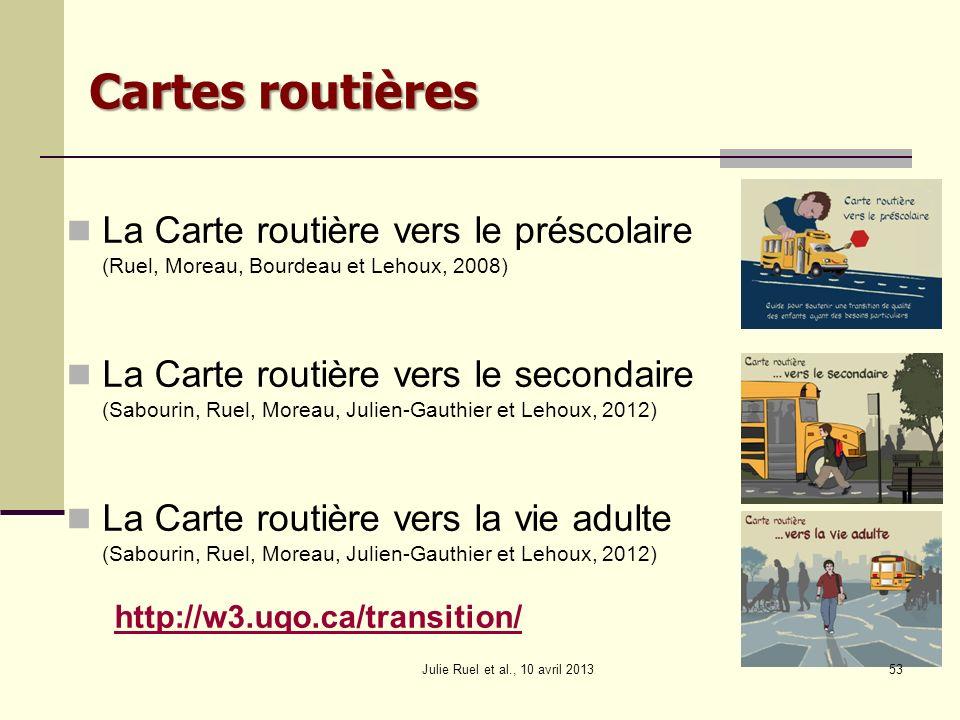 La Carte routière vers le préscolaire (Ruel, Moreau, Bourdeau et Lehoux, 2008) La Carte routière vers le secondaire (Sabourin, Ruel, Moreau, Julien-Ga