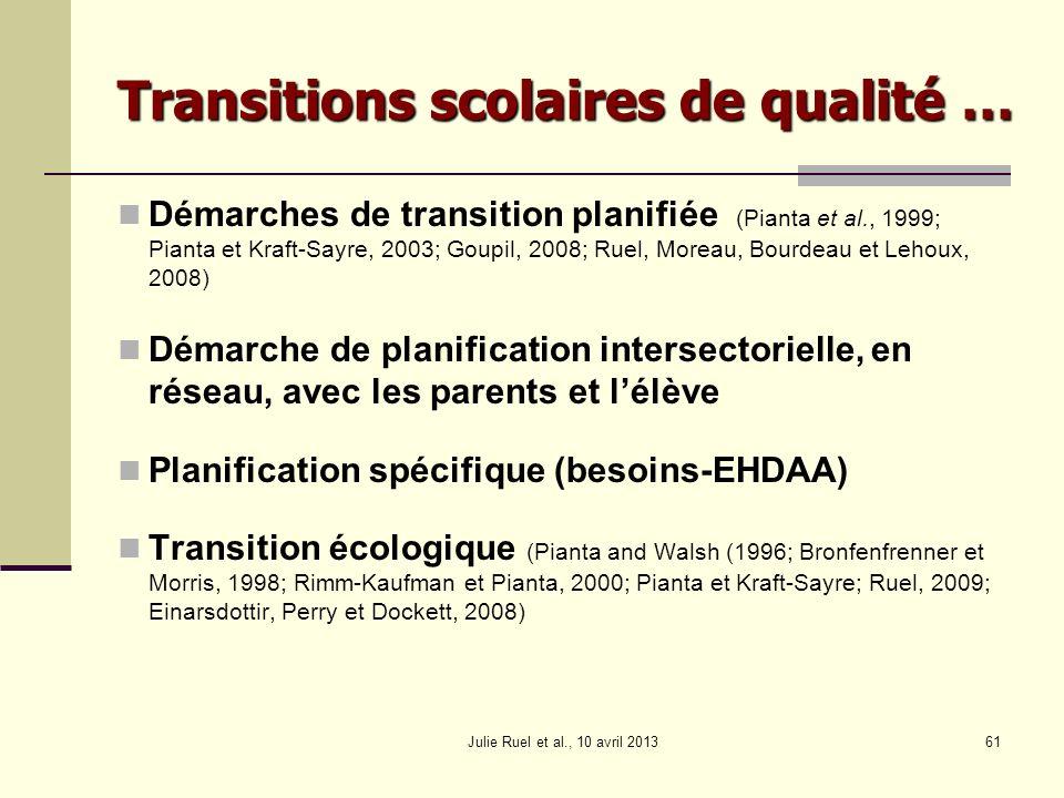 Démarches de transition planifiée (Pianta et al., 1999; Pianta et Kraft-Sayre, 2003; Goupil, 2008; Ruel, Moreau, Bourdeau et Lehoux, 2008) Démarche de