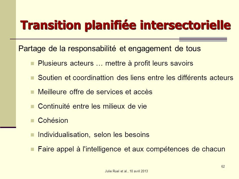 Julie Ruel et al., 10 avril 2013 62 Transition planifiée intersectorielle Partage de la responsabilité et engagement de tous Plusieurs acteurs … mettr