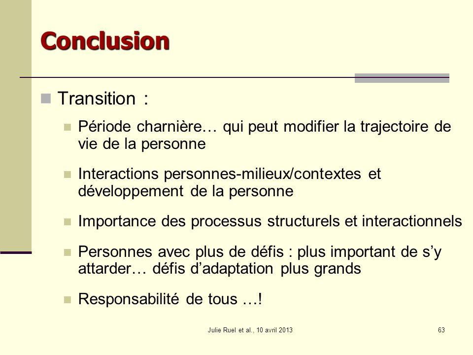 Julie Ruel et al., 10 avril 201363 Conclusion Transition : Période charnière… qui peut modifier la trajectoire de vie de la personne Interactions pers